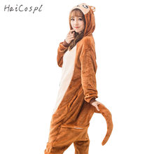 e9d0e3bd7 Monkey Pajama Set Couple Kigurumi Sleepwear Animal Cosplay Costume Women  Adult Onesie Party Suit Warm Brown Cute Jumpsuit Girls