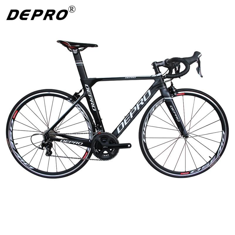 DEPRO дорожный велосипед из углеродного волокна, 22-скоростные дорожные велосипеды, гоночный велосипед 700C, велосипед светильник, 8 кг, EMS, профес...