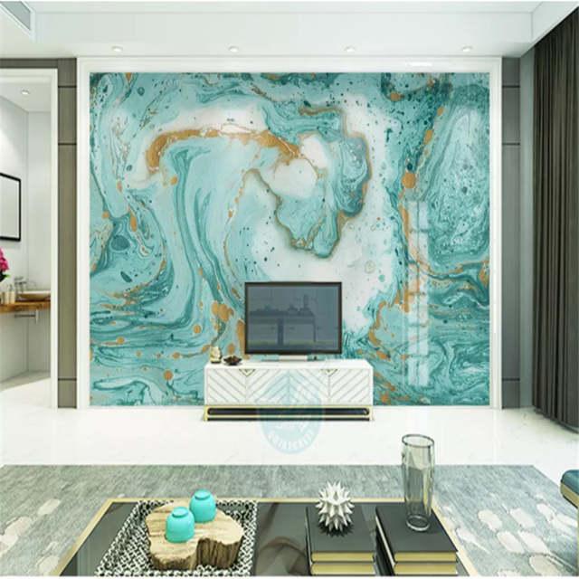 Custom Mural Wallpaper 3d European Abstract Blue Marble Textured