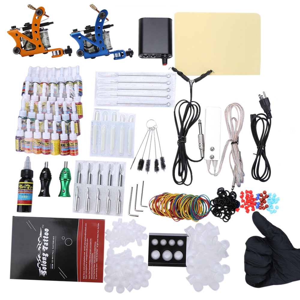 High Quality Imported Copper Wire Stainless Steel Needle Solong Complete Tattoo Kit 29 Color Inks Power Supply 2 Top Machine Gun stainless steel slant tip acne needle makeup tool