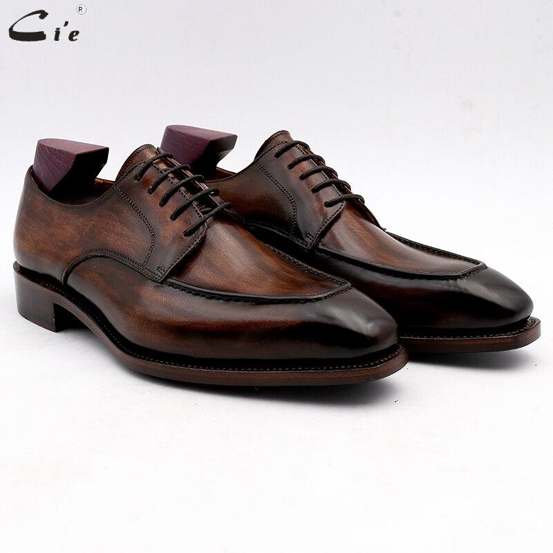 Cie vestido de los hombres zapatos de cuero de pátina marrón Oficina los hombres zapatos de cuero de becerro genuino suela de los hombres trajes formales de cuero hecho a mano no. 7