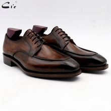 Cie zapatos de vestir de cuero marrón para hombre, calzado de oficina, suela de Piel De Becerro auténtica, traje de cuero formal, hecho a mano, n. ° 7