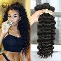 3 Шт. Queen Hair Products Бразильские Естественная Волна/Более Волнистые 7А Бразильского Виргинские Волос Свободные Глубокая Волна 100% Человеческих Волос волна Пучки