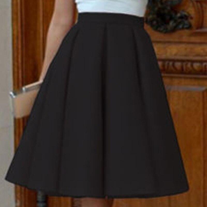 NEW Korea midi skirt Women Lolita sweet elastic faldas High Waist Plain Pleated OL officel lady wrok Skirt Girl Sailor skirts