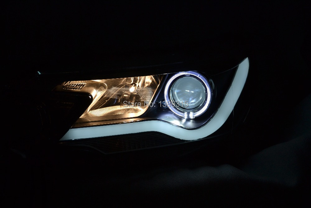 Free shipping China VLAND factory  car accessories tuning led headlight  for CRV 2012 2013 2014 projector lens angel eyes