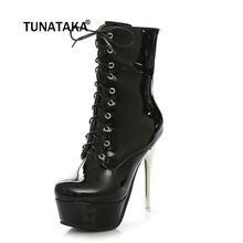 Mujeres Platent cuero Sexy Thin tacón alto botas de moda cremallera lateral  plataforma invierno mujer Zapatos ce013bc6ad1b