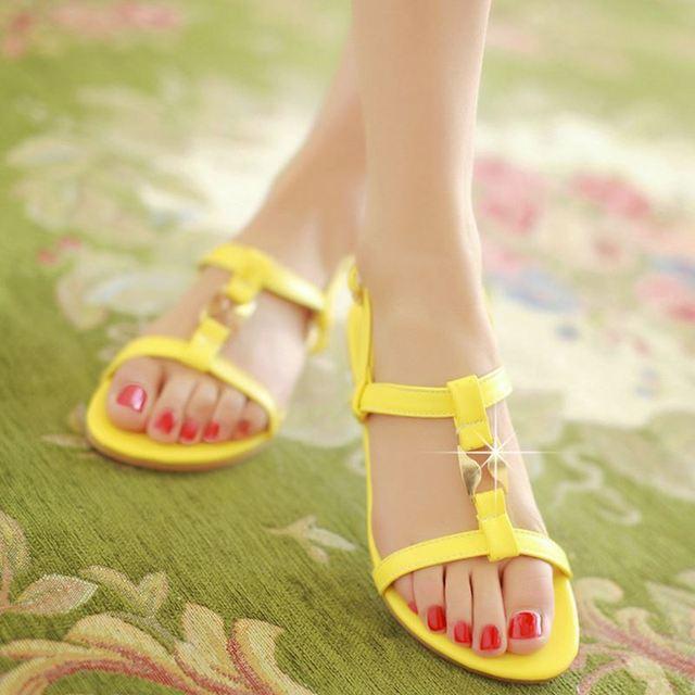 Women Flat Sandals Ankle-Strap Flats Sandals Summer Shoes Woman Flip Flops Sandale Femme Bohemia Beach Shoes size 34-39 PA00335