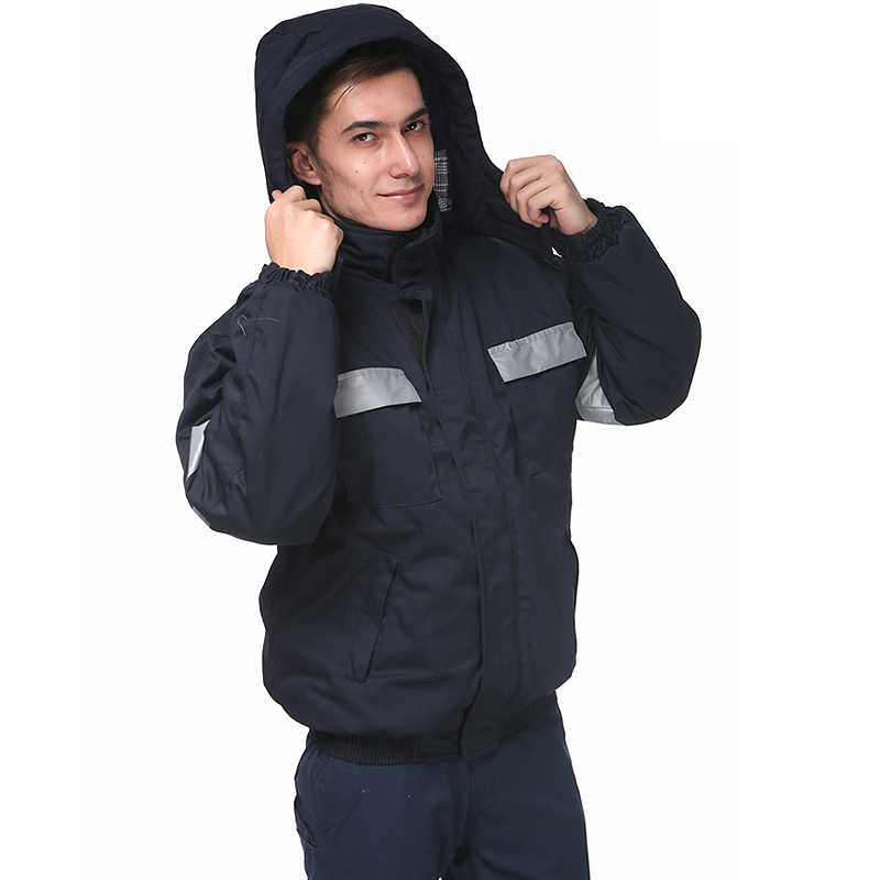 Navy Blue Winter bomber jacket with reflective tapes quilted jacket work wear for men цена и фото