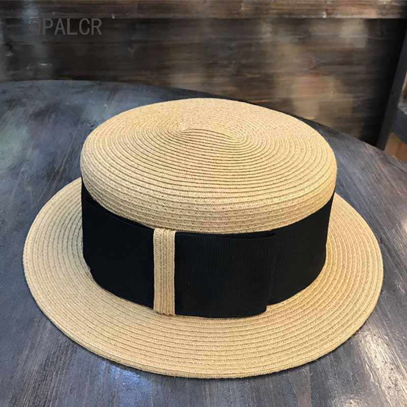 QPALCR Summer Sun Hats For Women Retro Ribbon Flat Top Hat High Quality  Paper Straw Hats 6ea11f284d73