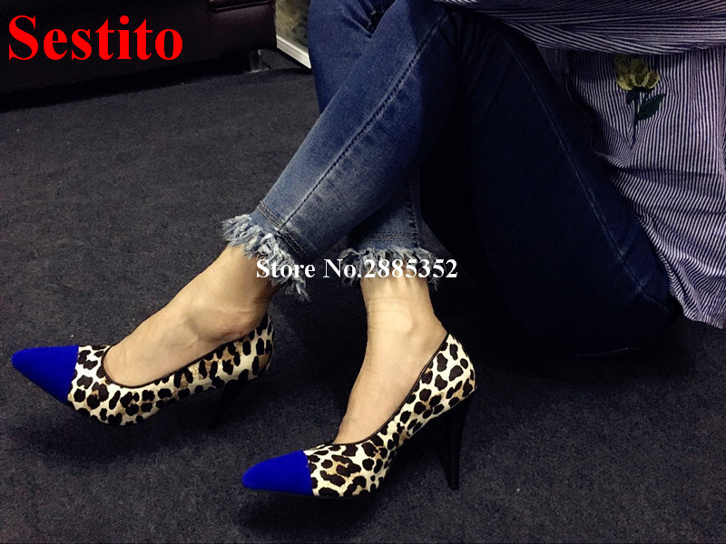 Hot Sexy Leopard Pattern Pumps Shallow Stiletto Heel Slip-on Pointed Toe Joint Thin High Heels Fashion Dress Party Shoes Women