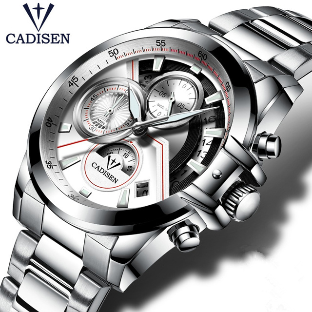 2017CADISEN Mens Luxury Watch Brand Leather Waterproof Sport Quartz Chronograph Watch-Military Wrist Men Clock