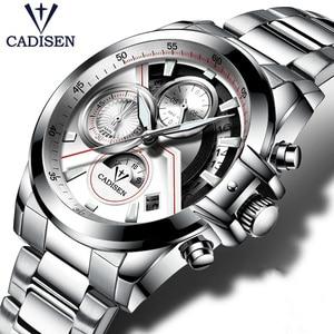 2018 CADISEN Top Brand Fashion Pilot Military Sport Wristwatch Men's Stainless Steel Quartz Watch Male Clock Relogio Masculino