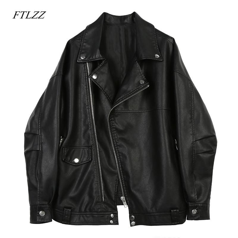 Ftlzz  Slim Pu Leather Jacket Soft Motorcycle Jacket Faux Leather Jacket Women Black Punk Fashion Biker Coat