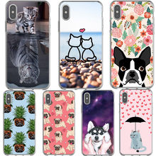 Cute Cartoon Lazy Cats Funny Animal Dog Pug PC Phone Case Cover For iPhone 5S 5 SE 6 6s 7 8 Plus X XS XR XS MAX Shell Capa Coque(China)
