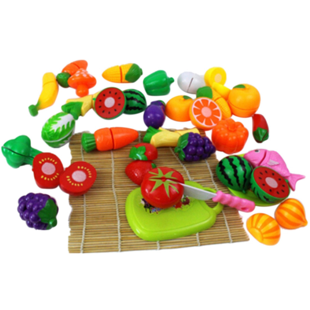 24Pcs/Set Plastic Play Toy Fruit and Vegetables Cutting Kids Pretend Play Educational Toys Cooking Kitchen Toys for Girls