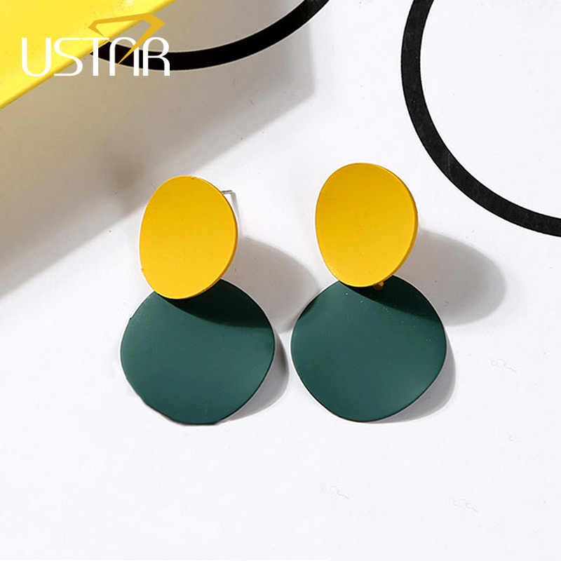USTAR Double Metal Round stud Earrings for Women Geometric Statement Earrings 2018 Modern Fashion Jewelry hanging oorbellen gift