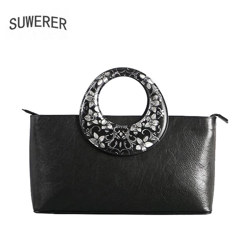 Genuine Leather handbag 2018 New Luxury Embossed Handbags Fashion Shoulder Messenger Bag Women's Bags