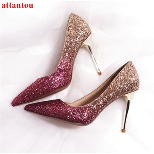 Female wedding dress shoes Rose Gold woman high heels fashion shoes heelpiece bling bling paillette thin heel pointed toe pumps newest bling bling glitter high heel shoes 2017 sexy pointed toe woman pumps celebrity thin heels wedding shoes black gold silve