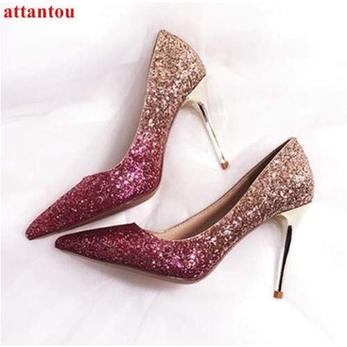 placeholder Female wedding dress shoes Rose Gold woman high heels fashion  shoes heelpiece bling bling paillette thin 6db8e775bb26