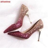 Weiblichen hochzeitskleid schuhe Rose Gold frau high heels mode schuhe heelpiece bling bling paillette dünne ferse spitz pumpen