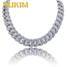 Xukim Jewelry 18mm Fat Miami Cuban Link Chain Full Iced Out Gold Silver Color Necklace Zirconia Hip Hop Jewelry Gift for Men sitaicery simple men twist oblate wide chain necklace party jewelry birthday gift new hip hop gothic fashion cuban link chain