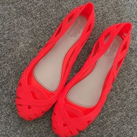 Womens Hollow Out Jelly Flats Sandals Summer Shoes Beach Soft Comfort New 2018 Black Red