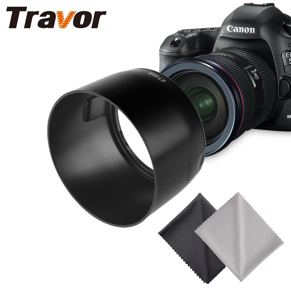 Travor ET-65III Lens Hood Pour CANON EF 85mm f/1.8 USM, EF 100mm f/2 USM Objectif avec 2 pcs Microfibre Lingette