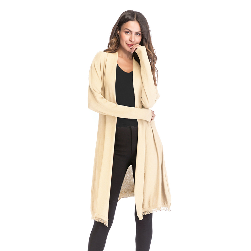 Kostlich 2018 Women Solid Color Tassel Long Knitted Cardigans Casual Open Stitch V Neck Full Sleeves Cardigans M-XL (16)