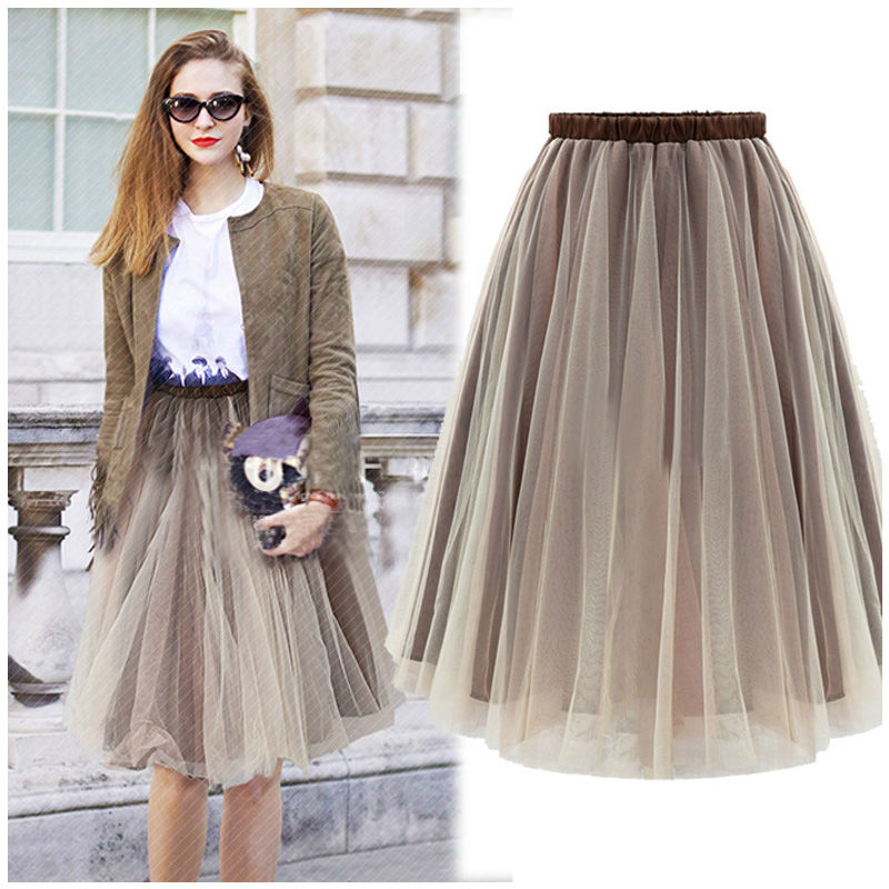 Tulle Skirts Double Layer Pleated Skirt Long Straight solid Mesh ...