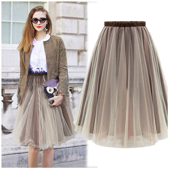 d95f42d332 Tulle Skirts Double Layer Pleated Skirt Long Straight solid Mesh net High  Waist Women Midi Skirts A-line maxi Faldas Muje