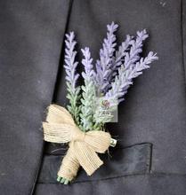 5 Unids Hecho A Mano Lavanda Artificial Flor de La Boda Mejor Hombre Del Novio Boutonniere Ramillete Partido Prom Traje Broche de Accesorios