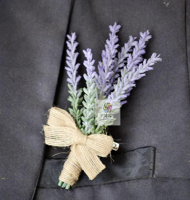 5Pcs Hand Made Groom Boutonniere Artificial Lavender Flower Wedding Best Man Corsage Party Prom Suit Pin Brooch Accessories