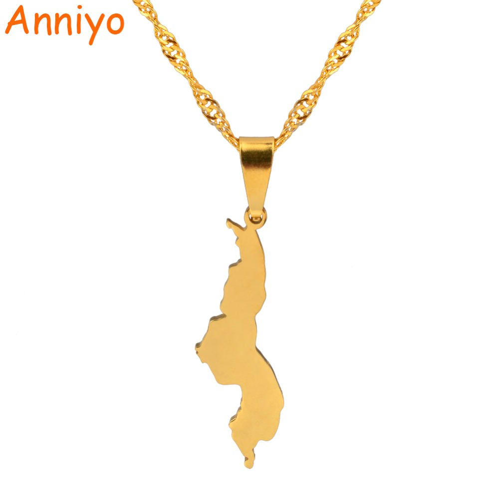 Anniyo Republic of Malawi Pendant & Necklace Gold Color African Countries Dziko la Malawi Jewelry Gifts #024121Anniyo Republic of Malawi Pendant & Necklace Gold Color African Countries Dziko la Malawi Jewelry Gifts #024121