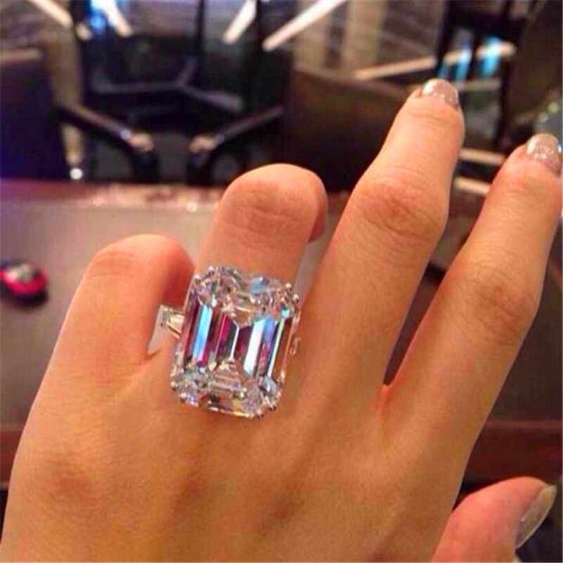럭셔리 여성 크리스탈 지르콘 스톤 링 빈티지 실버 컬러 결혼 반지 세트 약속 약혼 반지 남성과 여성을위한