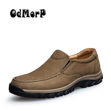ODMORP Men Shoes Handmade High Quality Genuine Leather Shoes Slip On Comfort Business Man Casual Shoes Big Size 46 47 cheap Adult Solid Slip-On Spring Autumn Breathable Cow Leather genuine leather shoes men Basic Fits true to size take your normal size