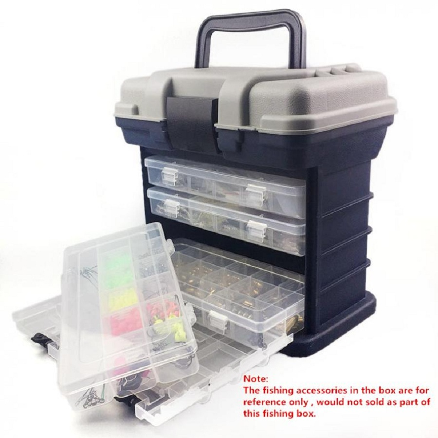 27x17x26cm 4 Layer PP ABS Sea Fishing Tackle Box with Plastic Handle Storage Fishing Lures Tools