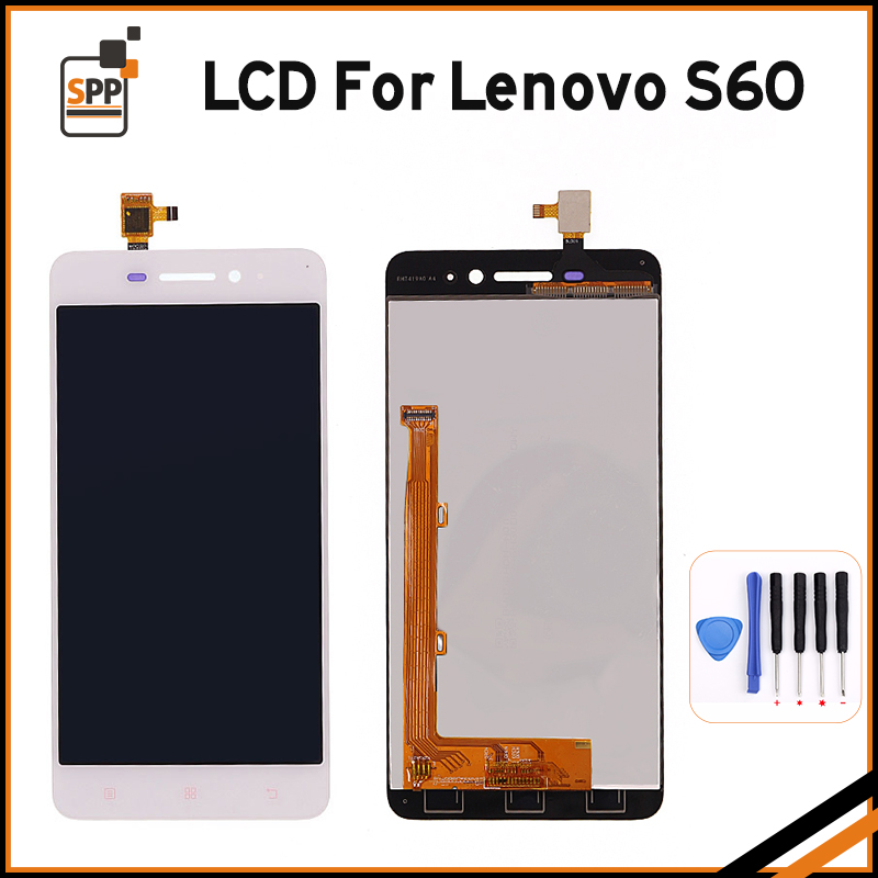 Best Quality LCD for Lenovo S60 S 60 LCD Display Screen Touch Digitizer Assembly Complete Replacement Pantalla Black White+Tool