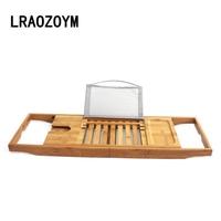 LRAOZOYM High Quality Bamboo Bathtub Rack Handcrafted Rack Storage Holder Comfortable Bath Shower Shelf Tray Scalable LR152
