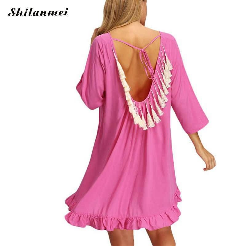 2017 Women Sexy Pink Tassel See-Through Crochet Tunic Beach Cover Up Swimwear Summer Bikini Cover Up Swim Beach Dress