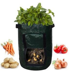 Image 2 - Vegetable Plant Grow Bag DIY Potato Grow Planter PE Cloth Tomato Planting Container Bag Thicken Garden Pot Garden Supplies