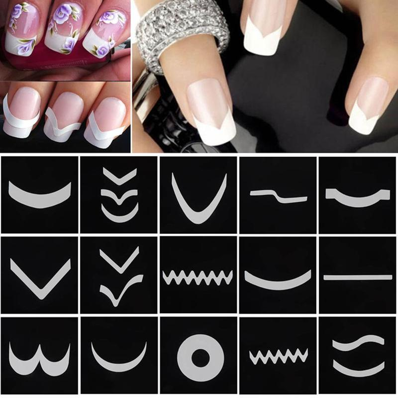 18 Sheets/Set French Style Nail Manicure Hollow Stencils Sticker DIY Nail Art Tips Guides Stencil Strip 3D Vinyls Decals Tools 3 designs in 1 sheet laser vinyls nail hollow sticker gold grid irregular patterns tips tool for nail art stencil manicure sa350