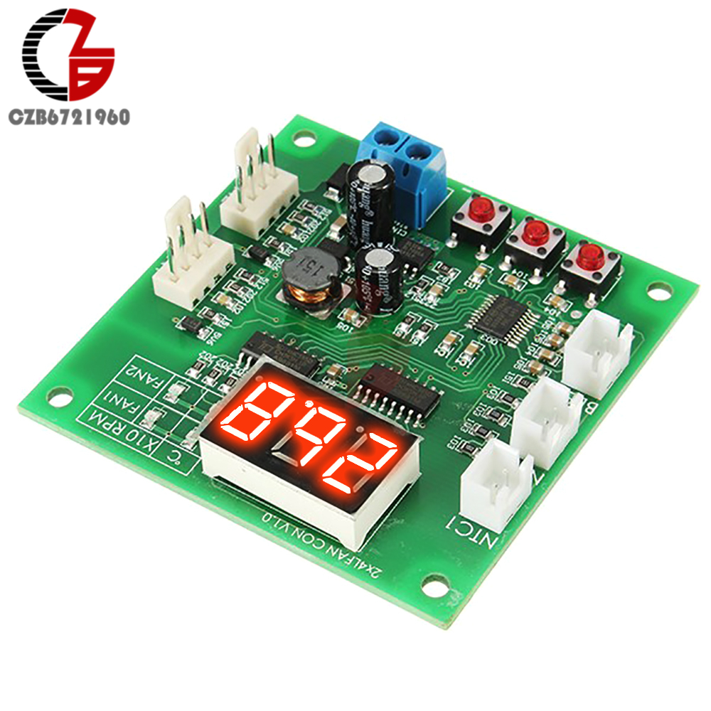 2 Channel 4 Wire Pwm Fan Temperature Controller Pc Motor Speed Pin Circuit Diagram Led Digital Thermostat Dc 12v 24v Heat Sink In From Home