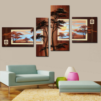 High Skill Artists 100% Handmade Beautiful Tree Pine Landscape Oil Painting on Canvas 4 Piece Wall Art for Home Decor Unframed