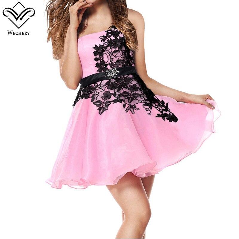 Wechery Floral Dress Mini Pink One Shoulder Strap Vestidos Big Size Tummy Control Dresses Mini Tutu Chiffon Dress