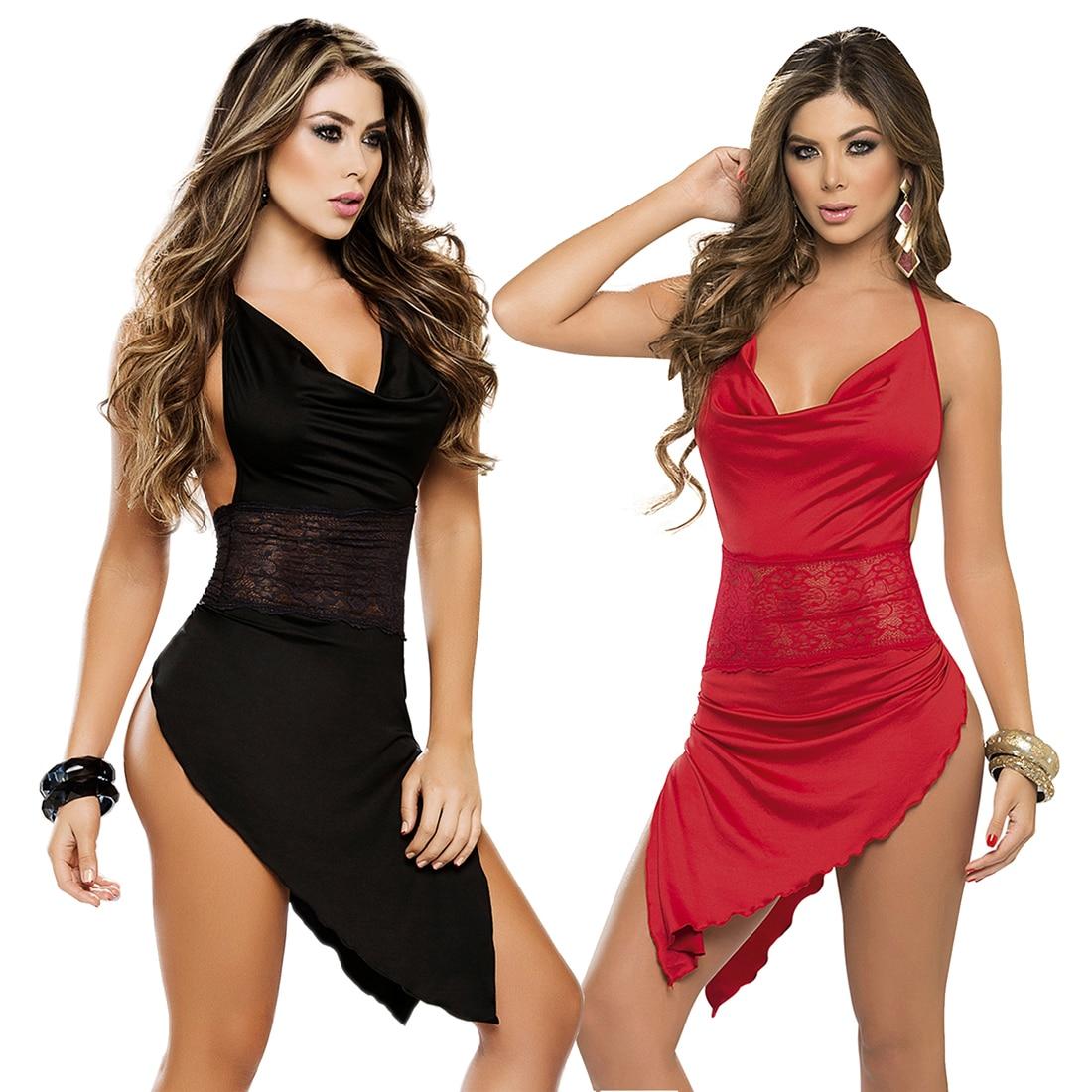 [Best] Free shipping Womens V-neck Satin Sexy Lingerie Nightgown Nightwear Nightie Negligee Party Night Dress Sleepwear