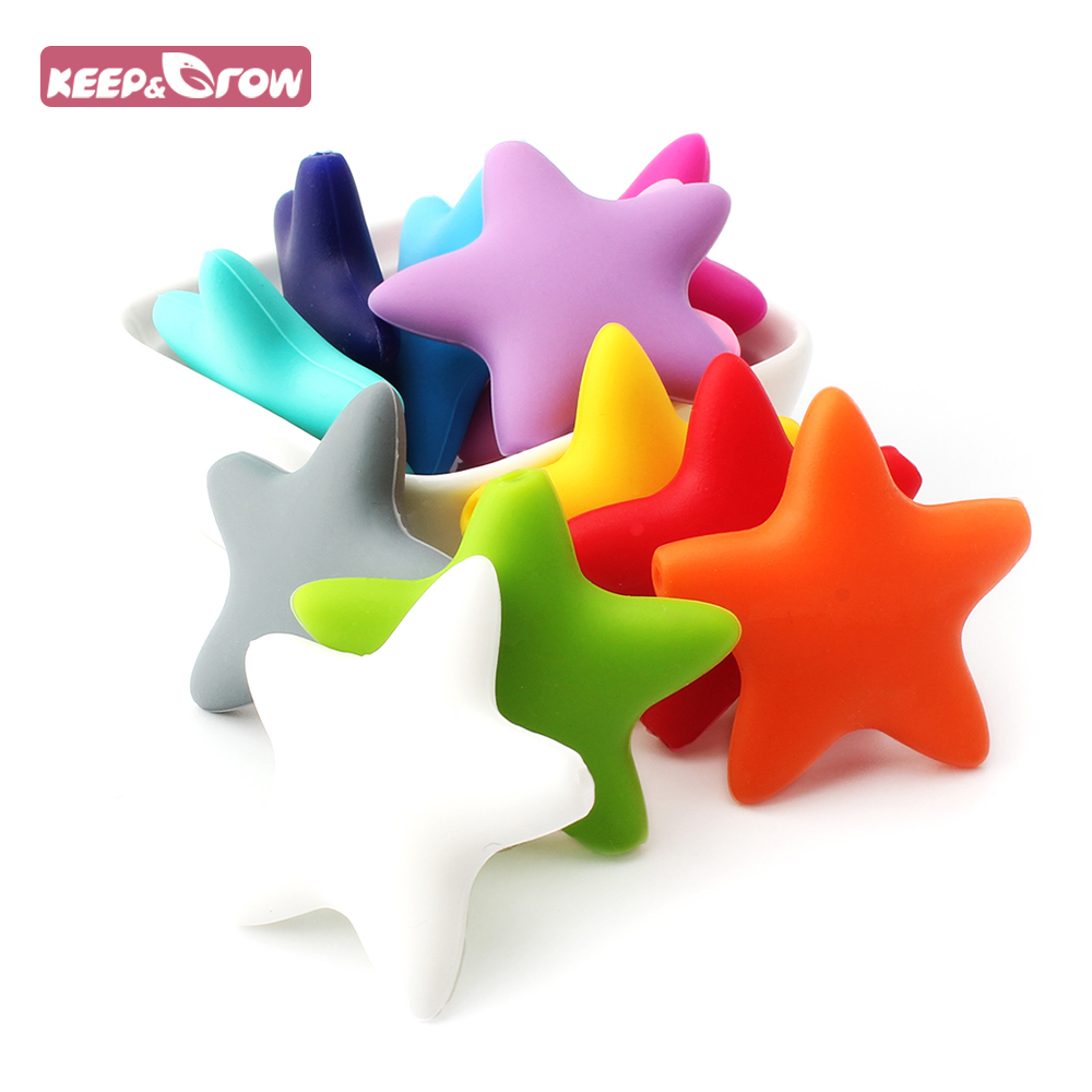 Keep&Grow 10Pcs Silicone Star Beads BPA Free Baby Teething Beads Chewable Baby Tooth Care Toys For Baby Nipple Chain Making