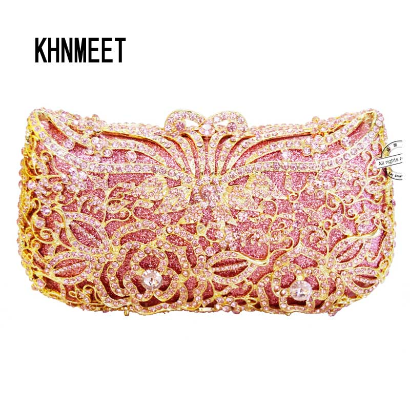 LaiSC Luxury Crystal Clutch Pink Evening Bag Diamante Handmade Party Girl Clutch Bag Prom Day Clutches Party Purse handbag SC227 top design red crystal evening bag roundness luxury clutch bags wedding party purse prom handbag silver banquet bag day clutches