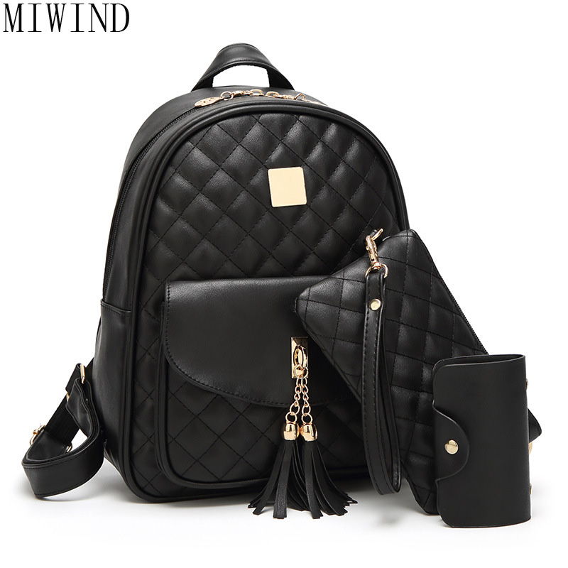 MIWIND Women PU Leather Black Plaid Style Fashion Rucksacks School Backpack For Girls Mochila Brand Designer