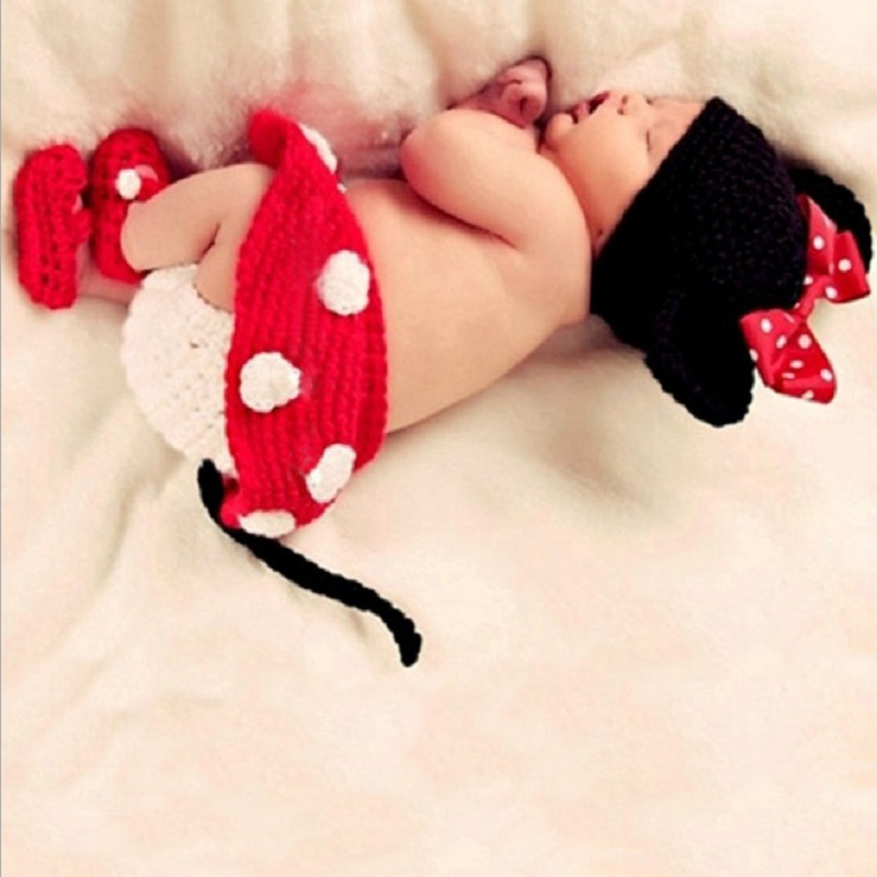 Newborn Girl Boy Crochet Cartoon Mickey Hat Photography Props Tiny Baby Photo Shoot Outfit Baby Picture Fotografia Props Clothes baby photography props fotografia animals halloween cosplay bodysuit hat set plush costume outfit studio shoot playsuit clothing