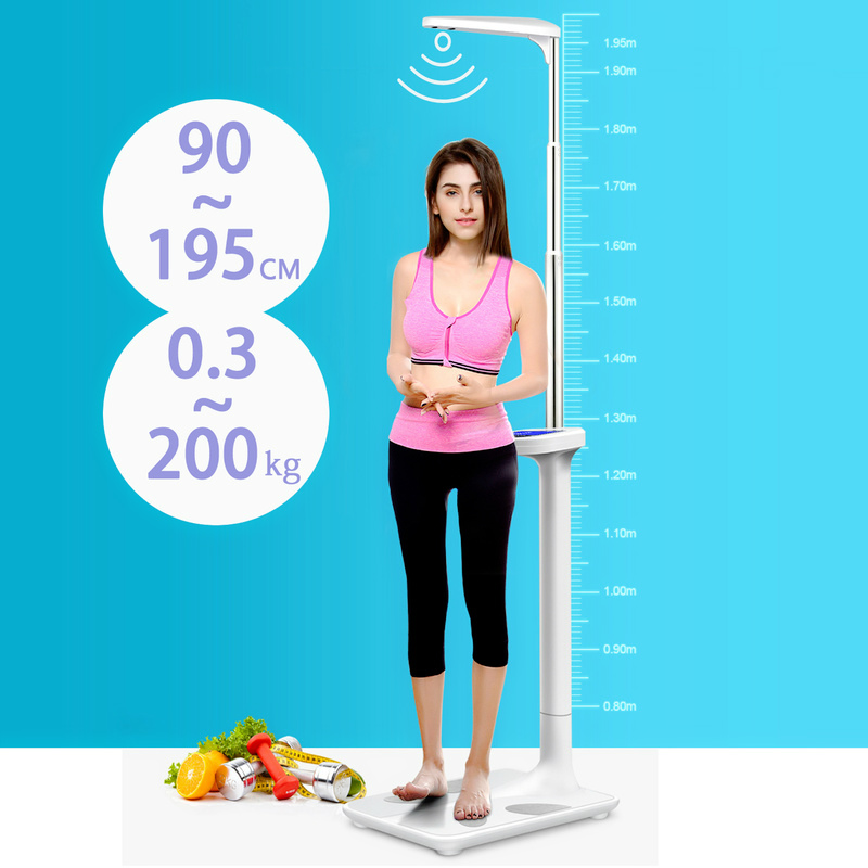 Foldable Ultrasonic Height Weighting Scale Stadiometer Multifunction Body Fat Analyzer Height Rod